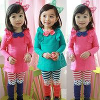 2013 autumn bow girls clothing long-sleeve dress legging set tz-0677