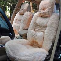 Purple campanula pearl velvet car seat cushion winter pulvinis auto supplies plush car seat cushion