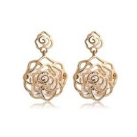 Free Shipping Hot-selling ! cutout zircon rose  earring drop earring the bride accessories