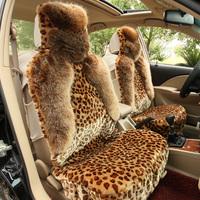 Car seat cushion winter leopard print plush all-inclusive cushion fox fur winter seat cushion breathable fashion sedan pad