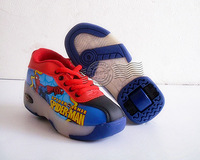 Spiderman cartoon Multi-function Heelys ROLLER SHOES with FLASH LIGHT SNEAKEI-SKATES Roller Skate Boys Girls Shoes