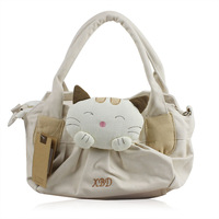Esq the loggerhead cat canvas handbag cross-body women's handbag double zipper bag