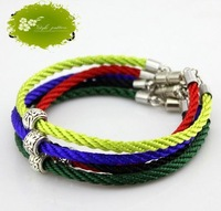 Sales 5pcs 3mm Mix Color Pineapple Rope Magnetic Clasp Bracelet Length about 18cm  (a0501)