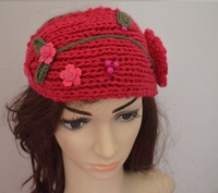 woman Handmade Knit hairband,made by Flower and Beads Crochet lady Headband,can choose color,  High Quality +CPAM free shipping