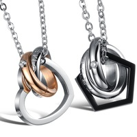 Accessories steel with chain crystal titanium lovers necklace gx777