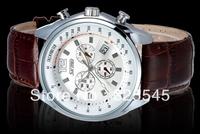 Fashion waterproof watch big dial Day Leather watch strap Business quartz watch vintage watches