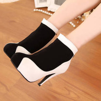2013 boots fashion boots platform thin heels ultra high heels color block decoration boots women's shoes ankle boots