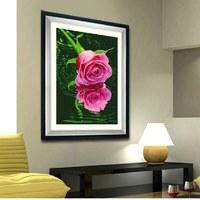 Free shipping, Diy diamond painting rose diamond rhinestone pasted painting resin square drill decorative painting mural