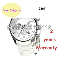 NEW AR5867 5867 Silver Dial Stainless Steel White Rubber Ladies Watch Women Wristwatch + Original box