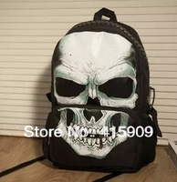 free shipping 2013 mojo style school bag backpack neon street punk skull backpack