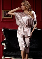 Free shipping Twinset sleepwear dress sexy Lace Strap nightgowns silk pajamas set for women