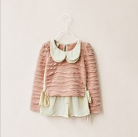 Wholesale--6pcs/lot 2013 new arrivals Korean girls Boutique sweet Doll Collar Top long sleeves blouses free shipping