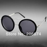 NEW fashion K1087 Fashionable Unisex Round Lens Sunglasses (Black)+free shipping
