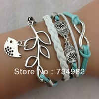5pcs Infinity, Owls & Lucky Branch/Leaf and Lovely Bird Charm Bracelet in Silver - Mint Green Wax Cords and Leather Braid,S001