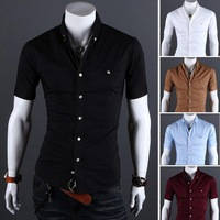 2013 spring and summer male slim solid color metal bag buckle short-sleeve shirt 8609