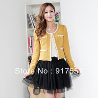 Free shipping , autumn - winter new ladies lace jacket, casual dress embroidered jacket printed round neck long-sleeved