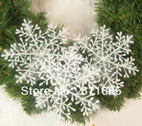 60pcs/lot White Plastic Christmas Snowflake Sheet Ornament Merry Xmas Tree House Decoration With Shining 11cm