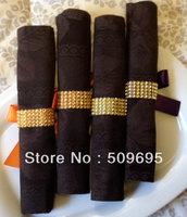 2013 new style wedding table decoration 4 rows rhinestone gold napkin ring