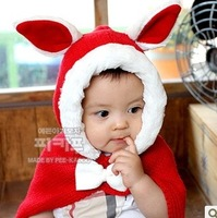 Red rabbit infant ear female child cape autumn and winter thickening one piece hat mantissas cloak d40