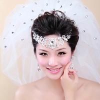 Colour bride rhinestone drop bridal veil wedding dress veil