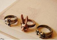 free shipping!!! 1.7cm inside diam Vintage animal ring/ rabbit /owl /fox ring  BG15