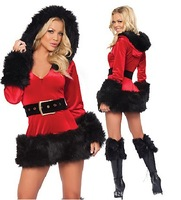 2013 Women Sexy Slim Patchwork Fur Hoodies V-neck Full Sleeves Mini Christmas Dress  Red