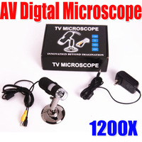 Free shipping Latest 1200X AV Digital Microscope High Resolution Electron Microscope 8-LED Connection  AV Port Monitors LCD TV