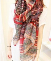 (Min order 15$) Free Shipping-2013 Hot Sale Fashioin Style Women Scarfs Shawls Long Voile Tribal Aztec scarves for women