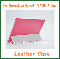 Four Folder Case with Stand for Huawei MediaPad 10 FHD 10 Link PU Leather Case+Customized Clear Screen Protector Free Shipping