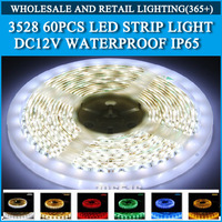 5M 3528 Strip Light Waterproof IP65 3528 60 LED Strip Light Single Color LED 3528 Strip Light Free Shipping