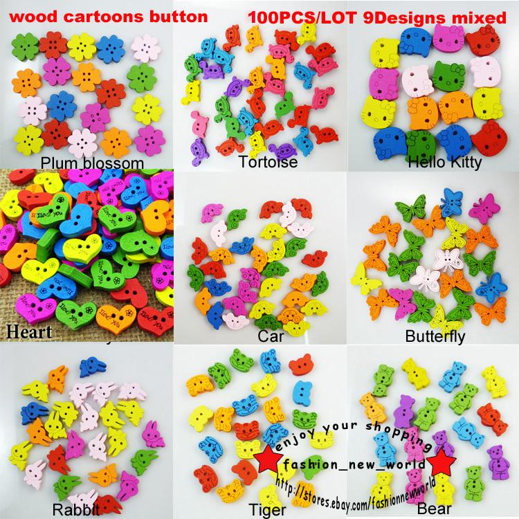 100 PCS 9PATTERNS simples ou mista desenhos animados de madeira vestuário botões acessório encantos jóias WCB-058(China (Mainland))