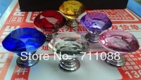 Free shipping 5pcs lot  30mm Multicolor Crystal Clear Cabinet Knob Drawer Pull Handle Kitchen Door Wardrobe Hardware
