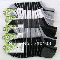 2013 new fashion America/Europe casual circle stripes patter bamboo fiber man men's low cut ankle  socks