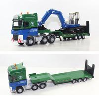 Alloy model flat panel trailer transport vehicle mining machine set tractor toy