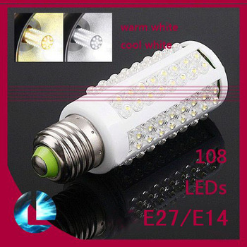 Ultra bright LED bulb 7W E27/ E14 220V/ 110V Cold White light corn lamp with 108 led 360 degree Spot light Free shipping