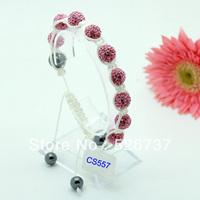 free shipping fashion 10mm hematite ball and red crystal shamballa bracelet