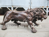 25 inch classical western art bronze sculpture carvings fierce lion statue