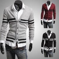 Classic horizontal stripe rib top color male cardigan all-match sweater slim sweater 1401q08 . 50  1401