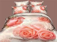 Free Shipping,bedding sets 4pcs queen/full 3D fabulous pink rose flower romantic cotton comforter quilt/duvet covers bed linen
