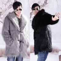 Male 2012 faux fur coat men's clothing fox fur mink small square collar