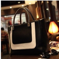 Free shipping 2013  the new hit color stitching leather black bag Fashionable female bag lady handbag Shoulder Messenger bag