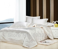 Pure Satin Silk Bedding Sets, Cream White Satin Bedding, Luxury Silk Bedding, Cheap Silk Bedding for Sale, Silky and Softy