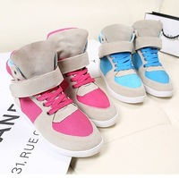 Free shipping / Hot-selling star velcro elevator color block decoration single shoes, sport casual high-top female shoes