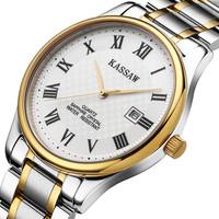Kassaw Brand Mens Steel Ultra-thin Waterproof Vintage Commercial Watch Male Brief Business Delicate Romaji Inner Gold Watch