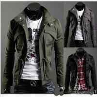 2014 Fashion Men Jacket Military Jackets Korean Style Autumn/Winter Coat Army Uniform Outdoor Slim Fit  Wear Men Free Shipping