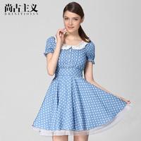 2014 spring sweet lace peter pan collar slim basic l80882 one-piece dress