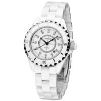 Swiss Brand Kassaw Natural Rhinestone Inlaying White Ceramic Pearl Ladies Watch