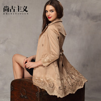 2013 autumn women's fashion double breasted medium-long slim women's trench outerwear