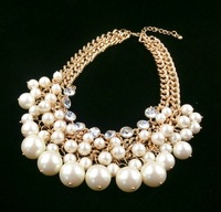 Brand Gorgeous Party 14mm Big pearl Large crystal Gold Plated thick chain Double wear short necklace