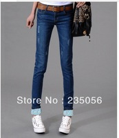 Free Shipping wholesale women's mid waist skinny pants slim breasted elastic pants jeans female JD955 LK
